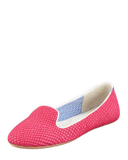 Charles Phillip Shanghai Lizette Python-Embossed Slip-On Loafer, Pink
