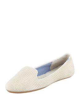 Charles Phillip Shanghai Lizette Python-Embossed Slip-On Loafer, White