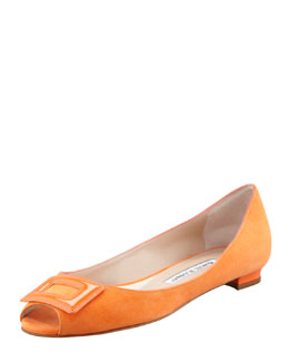 Manolo Blahnik Fani Open-Toe Suede Ballerina Flat, Orange