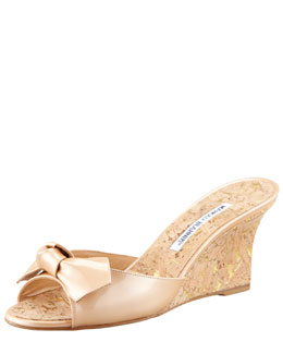 Manolo Blahnik Liss Bow Slide Cork Wedge, Nude
