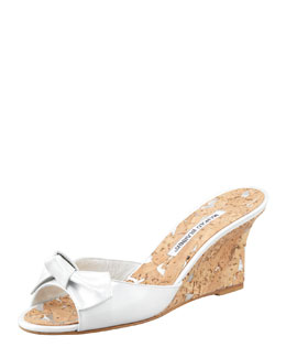 Manolo Blahnik Liss Bow Slide Cork Wedge, White