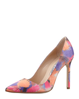 Manolo Blahnik BB Fabric Watercolor Pump
