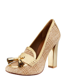 Tory Burch Careen Runway Loafer Pump, Natural/Gold