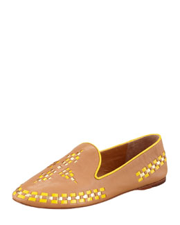 Tory Burch Runway Marlow Leather Topstitch Trim Loafer