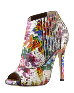 Jimmy Choo Bolt Painted Python Peep-Toe Bootie