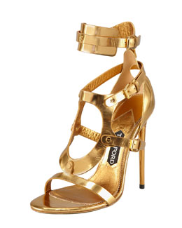 Tom Ford Triple-Buckle Metallic Sandal, Gold