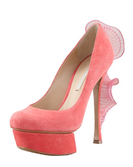 Nicholas Kirkwood Ruffle-Back Suede Platform Pump, Strawberry