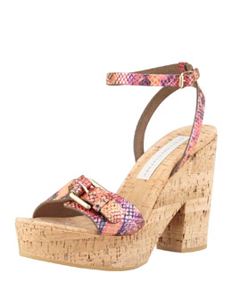 Stella McCartney Faux-Python Cork Wedge