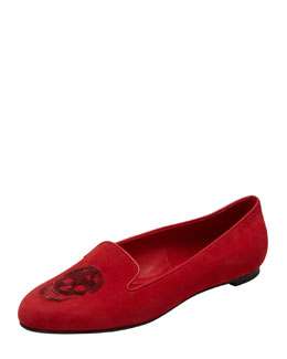 Alexander McQueen Embroidered Sequined Skull Smoking Slipper, Red