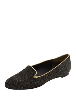 Alexander McQueen Crystalized Smoking Slipper, Black/Gold