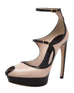 Alexander McQueen Honeycomb-Embossed Mary Jane Sandal, Beige/Black