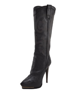 Lanvin High-Heel Cowboy Boot, Black