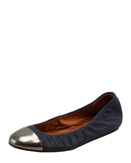 Lanvin Scrunched Metallic-Toe Ballerina Flat, Midnight Blue