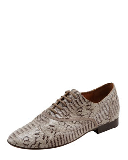 Lanvin Faux Snake Derby Lace-Up Oxford, Gray