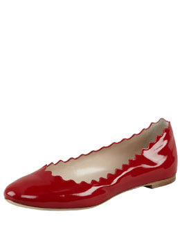 Chloe Scalloped Patent Leather Ballerina Flat, Red