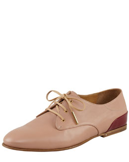 Chloe Lace-Up Oxford, Nude