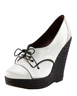 Tabitha Simmons Satin Oxford Espadrille Wedge, White
