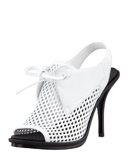 Balenciaga Leather Mesh Glove Slingback Sandal, White