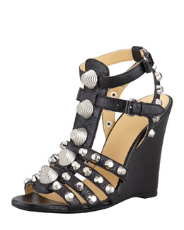 Balenciaga Giant Nickel Studded T-Strap Wedge, Black