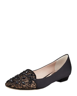 Rene Caovilla Satin and Lace Embellished Loafer
