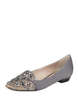 Rene Caovilla Satin and Lace Embellished Smoking Slipper, Gray