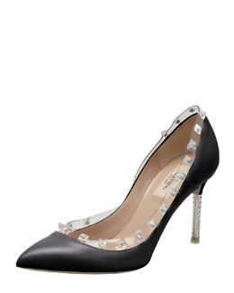 Valentino Rockstud Naked Pump, Black