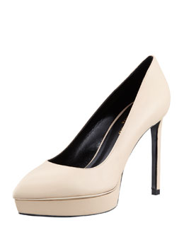 Saint Laurent Janis Pointed-Toe Platform Pump, Poudre