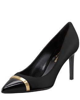 Saint Laurent Paris Leather Cap-Toe Pump, Black