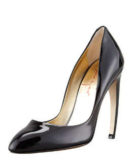 Walter Steiger Bowed-Heel Patent Leather Pump, Black