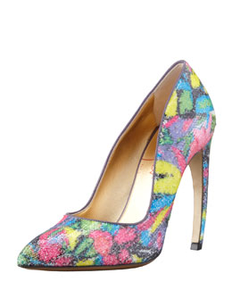 Walter Steiger Sequin Pump With Bowed Heel