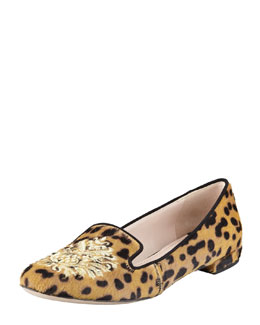 Miu Miu Leopard Calf Hair Embroidered Slipper