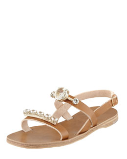 Miu Miu Jeweled Double-Strap Sandal, Cammello