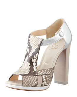 Christian Louboutin Tably Python T-Band Sandal
