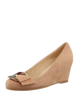 Stuart Weitzman Bucalina Buckled Demi-Wedge Pump, Nude