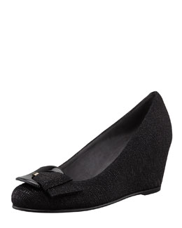 Stuart Weitzman Lizette Buckled Demi-Wedge Pump, Black