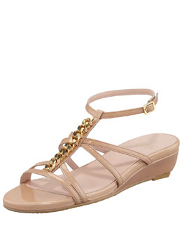Stuart Weitzman Tiffy Chain-Trim Wedge Sandal, Nude