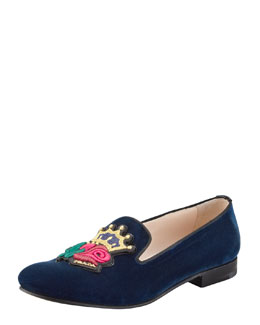 Prada Velvet Rose-Embroidered Smoking Slipper
