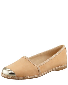 Stuart Weitzman Tipadril Metallic-Tipped Leather Flat