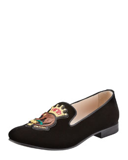 Prada Velvet Monkey-Embroidered Smoking Slipper, Black