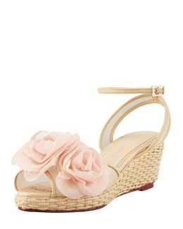 Charlotte Olympia Fleurette Wicker-Woven Leather Wedge Sandal