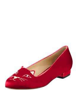 Charlotte Olympia Kitty Satin Flat Slipper, Red
