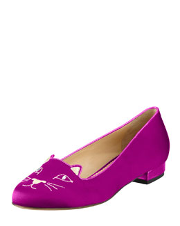 Charlotte Olympia Kitty Satin Flat Slipper, Fuchsia