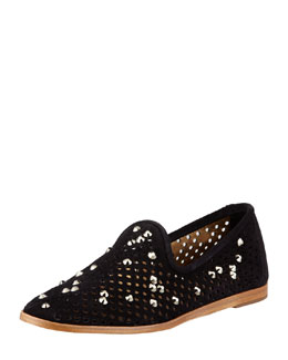 Pedro Garcia Yaden Perforated Crystal Smoking Slipper, Black