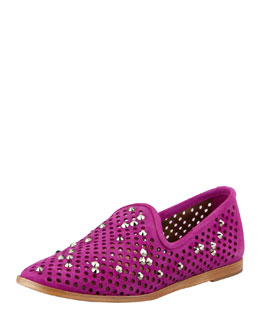 Pedro Garcia Yaden Perforated Crystal Smoking Slipper, Dahlia