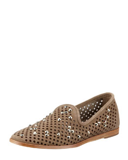 Pedro Garcia Yaden Perforated Crystal Smoking Slipper, Dune