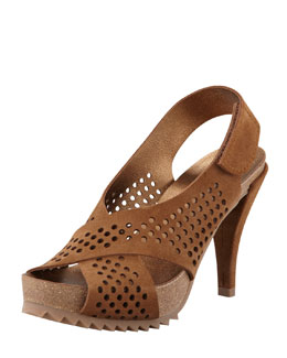 Pedro Garcia Noor Perforated Crisscross Suede Sandal, Tobacco