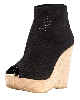 Jimmy Choo Paw Perforated Suede Cork-Wedge Bootie, Black