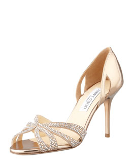 Jimmy Choo Bauble Crystal-Embellished Metallic Sandal