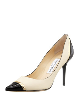Jimmy Choo Lilo Cap-Toe Pump, Bone/Gold/Black