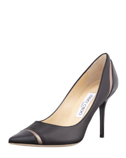 Jimmy Choo Lilo Cap-Toe Pump, Black/Pewter